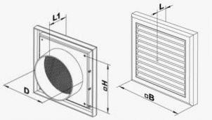 Размеры регулируемых вентиляционных пластиковых решеток Вентс ВМ 100 ВРс с защитной сеткой и круглым фланцем