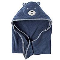 Полотенце с капюшоном Синий Мишка велюр-махра 76х76см, Carters
