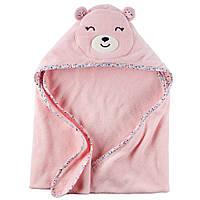 Полотенце с капюшоном Розовый Мишка велюр-махра, 76х76см, Carters