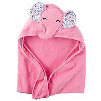 Полотенце с капюшоном Carters велюр-махра Розовый слоник цветные ушки , 76х76см