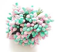 Тычинки Тиффани-розовые с сахарными, глянцевыми  и пенопластовыми ягодками и листиками 24 шт/уп на проволоке