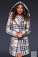 Женское пальто с карманами на пуговицах с капюшоном  , фото 1