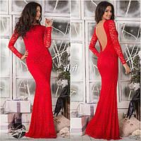 Женское гипюровое вечернее платье с открытой спиной