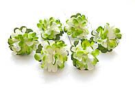 Цветы Хризантемы Салатовые 3,5 см из бумаги на проволоке 6 шт/уп
