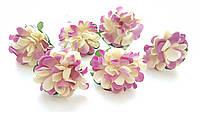 Цветы Хризантемы Бежево-лиловые 3,5 см из бумаги на проволоке 6 шт/уп