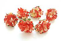 Цветы Хризантемы Бежево-алые 3,5 см из бумаги на проволоке 6 шт/уп