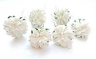 Цветы Хризантемы Белые 3,5 см из бумаги на проволоке 6 шт/уп