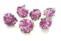 Цветы Хризантемы Сиренево-розовые 3,5 см из бумаги на проволоке 6 шт/уп