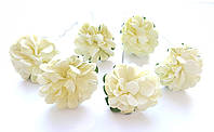 Цветы Хризантемы Молочные 3,5 см из бумаги на проволоке 6 шт/уп