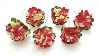 Цветы Хризантемы Вишнево-бежевые 3,5 см из бумаги на проволоке 6 шт/уп