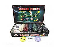 Покерный набор на 300 фишек с номиналом + сукно для игры