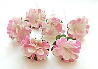 Цветы Хризантемы Розово-бежевые 3,5 см из бумаги на проволоке 6 шт/уп