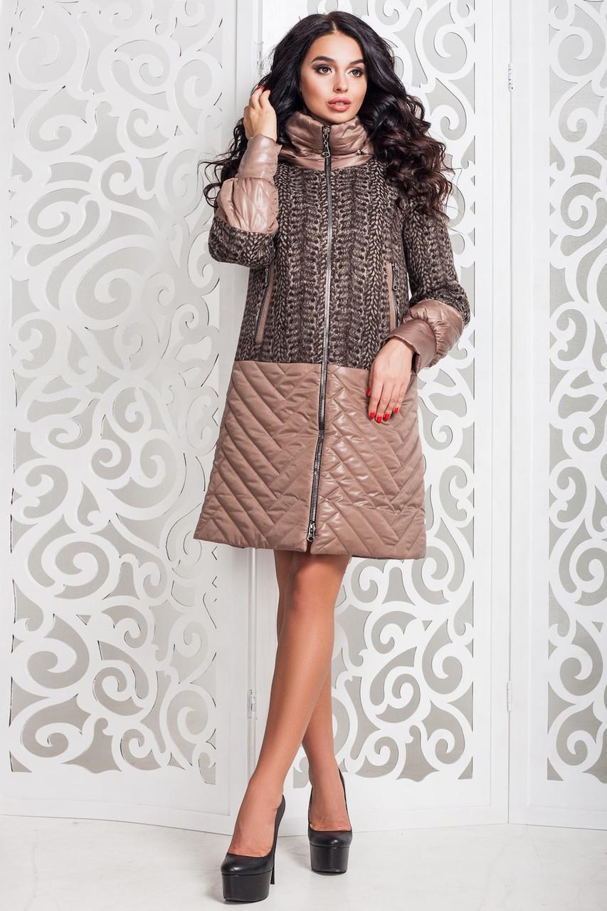 Современное женское осеннее пальто (р. 44-58) арт. 972 Тон 10