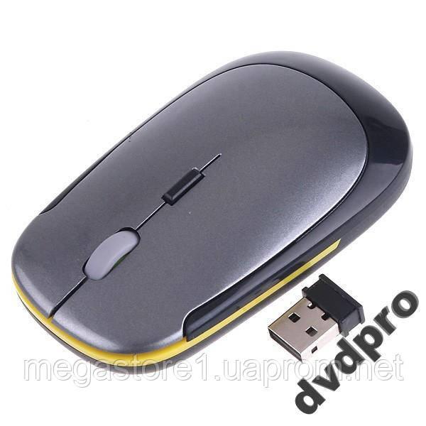 Мышь беспроводная, мышка ультратонкая серебристая