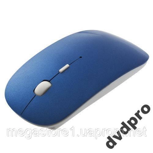 Мышь беспроводная, мышка 2.4 тонкая slim синяя