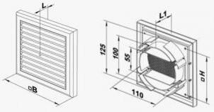 Размеры пластиковой решетки с универсальным фланцем
