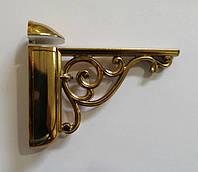Менсолодержатель GU-W8051 для деревянных и стеклянных полок 3 - 40 мм,золото глянец L-125 , фото 1