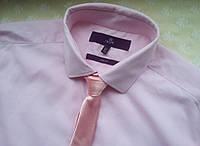 Галстук розовый параллельный узкий тонкий