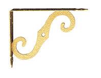 Консоль держатель для деревянных  полок AMG-1257  золото глянец 100х90 мм, фото 1