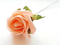 Цветы Розы Персиковые из фоамирана (латекса) 5 см на проволоке 1 шт