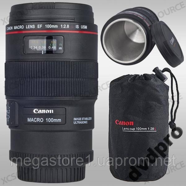 Кружка термос Объектив Canon macro 100mm, 350мл