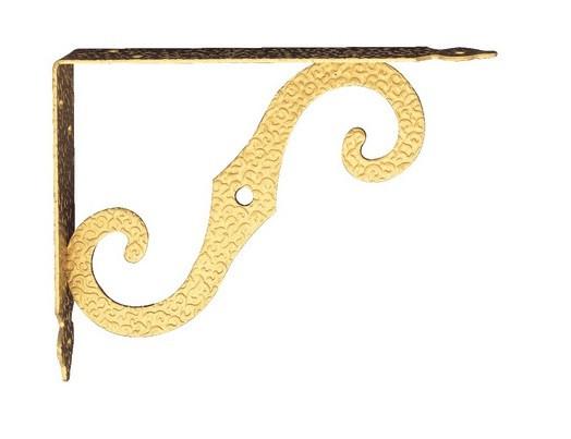 Менсолодержатель для деревянных  полок AMG-1259  золото глянец 200х150 мм