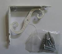 Менсолодержатель для деревянных  полок AMG-8193  белый 100х90 мм, фото 1