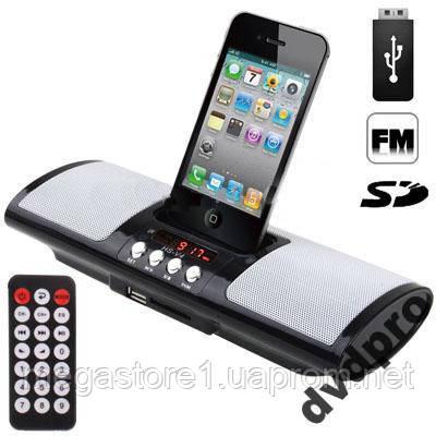 Колонки FM MP3 радио часы USB SD +ДУ iPhone iPod