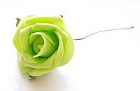 Цветы Розы Салатовые из фоамирана (латекса) 5 см на проволоке 1 шт