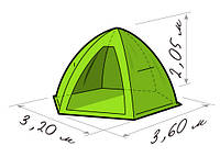Зимняя палатка Лотос 5 (Lotos 5) зонт (д*ш*в 3,2*3,6*2,05) 4-х местная