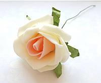 Цветы Розы Персиково-бежевые из фоамирана (латекса) 5 см на проволоке 10 шт/уп, фото 1