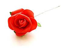 Цветы Розы Красные из фоамирана (латекса) 5 см на проволоке 1 шт