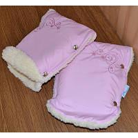 Муфта для рук на ручку коляски/санок Снежинки розовая
