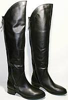 Сапоги зимние женские Foletti FL33-17 ботфорты, черные, кожа, каблук 3 см, 2 замочка до верха, мех европейка.