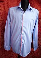 Рубашка голубая с красными вставками. Размер ХЛ