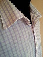 Рубашка белая в фиоле клетку  размер 16.5 ворот 42