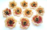 Цветы Маки Персиковые из фоамирана (латекса) 4 см 10 шт/уп