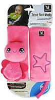 Мягкая накладка на детский ремень безопасности в коляску или автокресло (розовая)