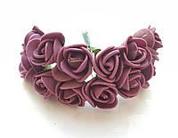Цветы Розы Бордовые из фоамирана (латекса) 1.5-2 см на проволоке 12 шт/уп