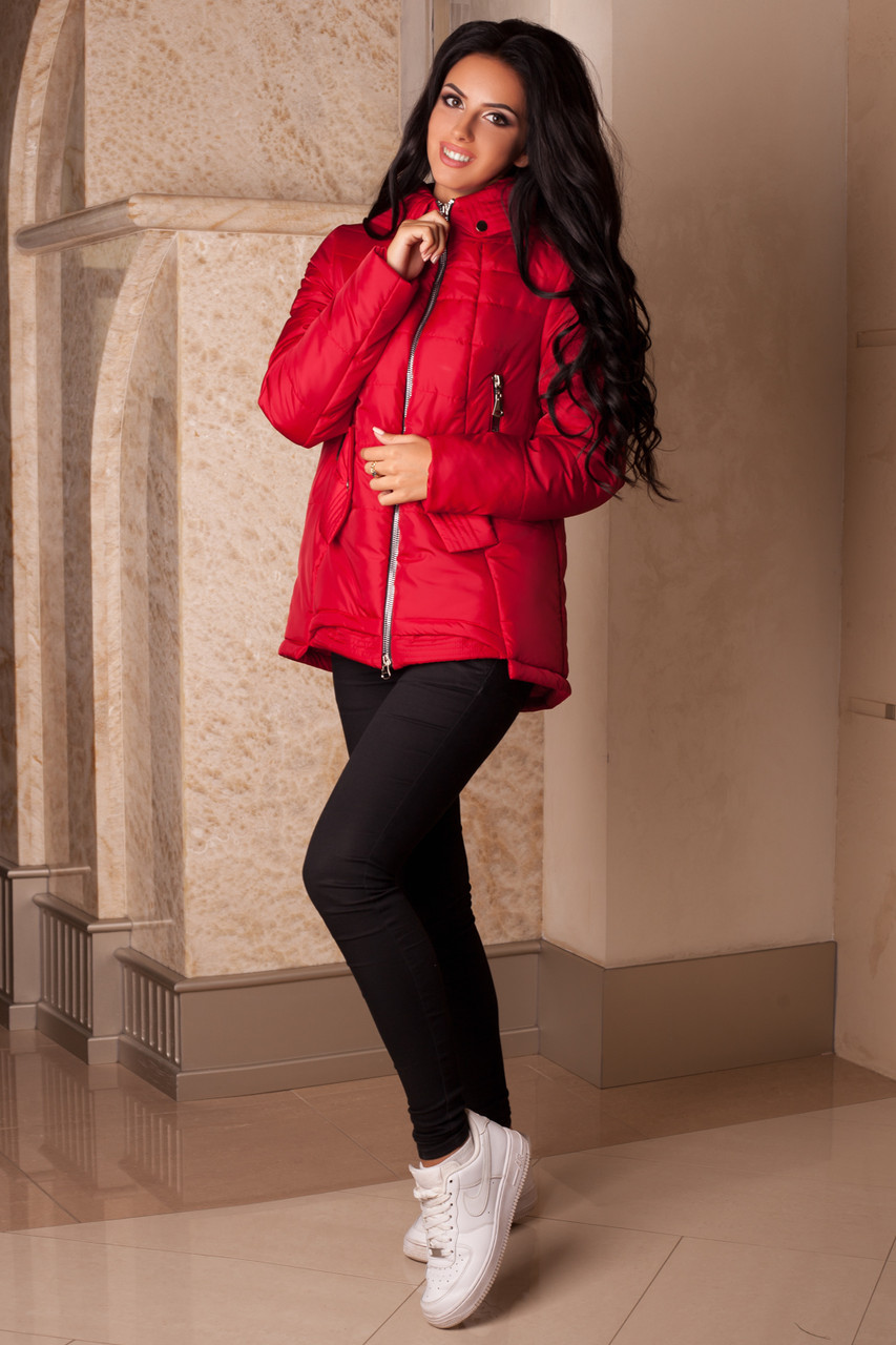 Женская красная демисезонная куртка р. 44-56 арт. 959 Тон 75