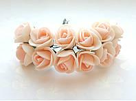 Цветы Розы Бежево-персиковые из фоамирана (латекса) 1.5-2 см на проволоке 12 шт/уп