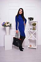 Женское тёплое облегающее платье с высоким горлышком в разных цветах