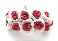 Цветы Розы Бело-красные из фоамирана (латекса) 1.5-2 см на проволоке 12 шт/уп