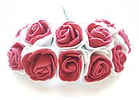 Цветы Розы Бело-красные из фоамирана (латекса) 2.5-3 см на проволоке 12 шт/уп