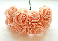 Цветы Розы Персиковые из фоамирана (латекса) 2.5-3 см на проволоке 12 шт/уп