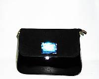 Женская модная сумка черного цвета из натурального замша