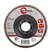 Диск шлифовальный лепестковый 115 * 22мм зерно K150 INTERTOOL BT-0115