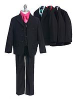 Выпускной костюм с контрастной рубашкой и атласным галстуком на выбор 2-18 лет (7 цветов)