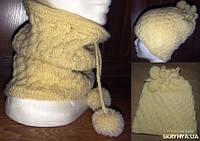 Бафф-шапка вязаная женская шерстяная. Ручная работа.