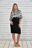 Женское платье на осень 0326 цвет черно-белый до 74 размера